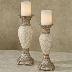 Cambria Candleholders Ivory/Beige Set of Two