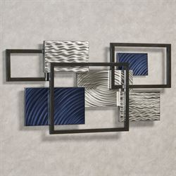 Framed Array III Metal Wall Sculpture Blue