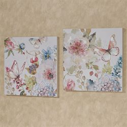 Butterfly Haven Floral Canvas Wall Art Multi Cool Set of Two