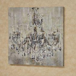 Elegant Chandelier Canvas Wall Art Beige