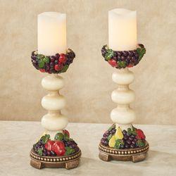 Tuscan Fruit Candleholder Pair Multi Jewel