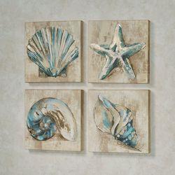 Sanibel Shells Coastal Canvas Wall Art Beige Set of Four