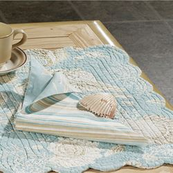 Natural Shells Reversible Napkin Set  Set of Four