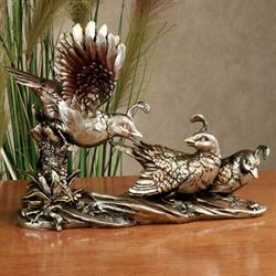 Quails Roost Table Sculpture Antique Gold