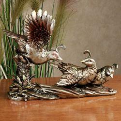 Quails Roost Table Sculpture Antique Gold