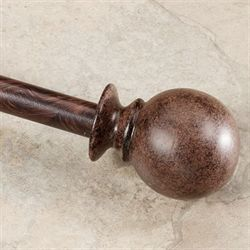 Antique Ball Drapery Rod and Finial Set Antique Brown