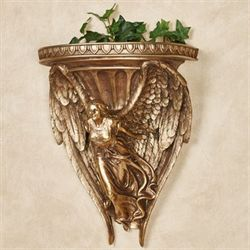Wings of Glory Wall Shelf Aged Gold