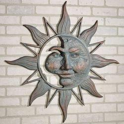 Half Face Sun Wall Plaque Art Patina
