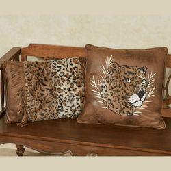 Serengeti Embroidered Leopard Pillow Multi Warm 18 Square