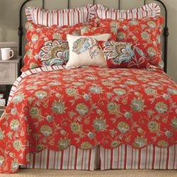 Jacobean Red Quilt Dark Red