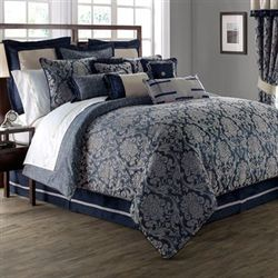 Sinclair Damask Comforter Set Midnight Blue