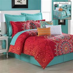 Cozumel Comforter Set Dark Red