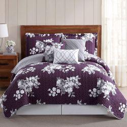 Peony Garden Quilt Bed Set Plum
