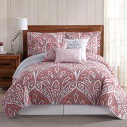 Sedona Damask Quilt Bed Set Coral Pink