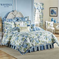 Floral Engagement Comforter Set Blue