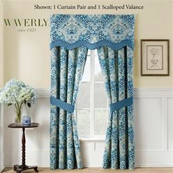 Moonlit Shadows Wide Tailored Curtain Pair Blue 100 x 84