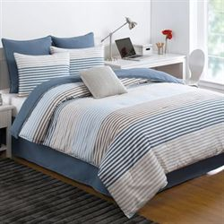Chambray Stripe Comforter Set Multi Cool
