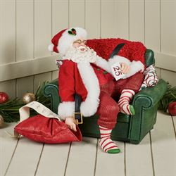 December 25th Clothtique Santa Figurine Red