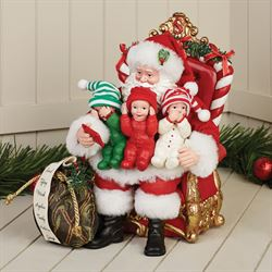 See Hear Speak Clothtique Santa Figurine Red
