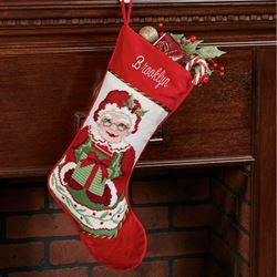 Heirloom Mrs Claus Needlepoint Christmas Stocking Red
