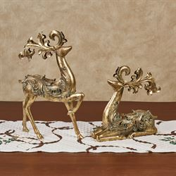 Reindeer Gleam Table Sculptures Gold Set of Two