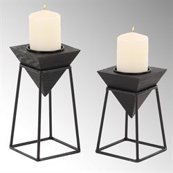Hawley Candleholders Black Set of Two