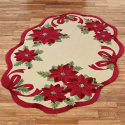 Holiday Ribbon Oval Rug Cream