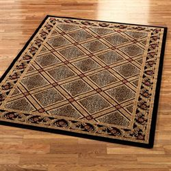 Formal Leopard Area Rug Black