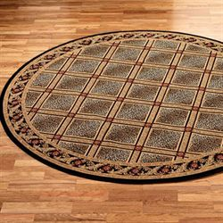 Formal Leopard Round Rug Black