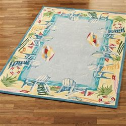 Beach Resort Area Rug Light Blue