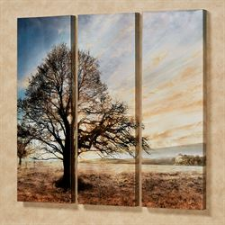 Illuminated Tree Triptych Canvas Wall Art Multi Warm Set of Three