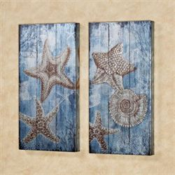 Sea Jewels Canvas Wall Art Set Blue Set of Two