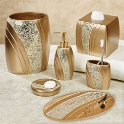 glamour mosaic champagne gold bath accessories - Bathroom Accessory Sets