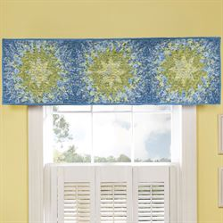 Arcadia Star Patchwork Quilted Valance Dark Blue 56 x 15