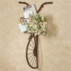 Hansen Bike with Basket Wall Sculpture Aged Brown