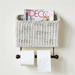 Eaden Wall Magazine Rack with Toilet Paper Holder Antique White