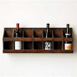 Bradley Wood Wall Wine Bottle Holder Brown