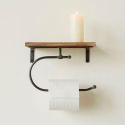 Berken Wall Toilet Paper Holder with Shelf Black