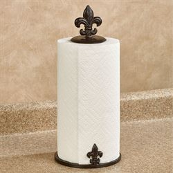 Fleur de Lis Metal Paper Towel Holder Brown