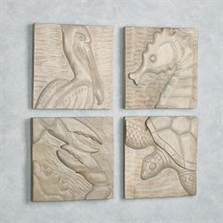 Modern Coastal Wall Plaques Gray Set of Four
