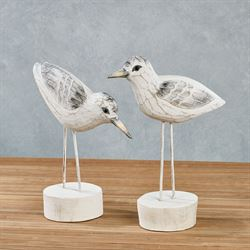Sandpipers Table Sculptures Whitewash Set of Two