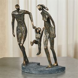 Family Bond Table Sculpture Weathered Bronze