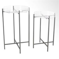 Mod Acrylic Accent Tables Silver Set of Two