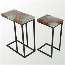 Teak Nesting Tables Black Set of Two