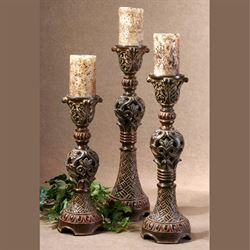 Rosina Candleholders Brown Set of Three
