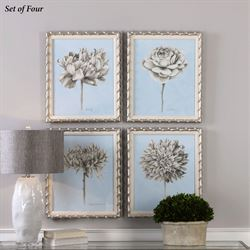 Botanical Framed Wall Art Ivory Set of Four