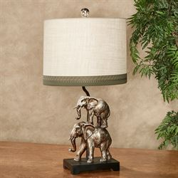 Jaquan Elephants Table Lamp Burnished Silver