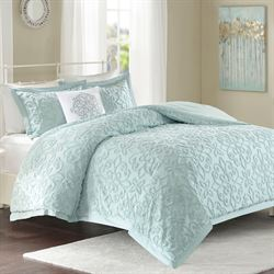 Lily Chenille Comforter Bed Set Pale Aqua