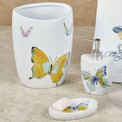 Watercolor Garden Butterfly Lotion Soap Dispenser White