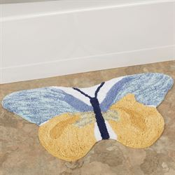 Watercolor Garden Butterfly Bath Rug Multi Cool 32 x 18